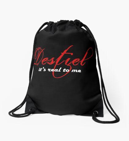 Destiel is real - White writing Drawstring Bag