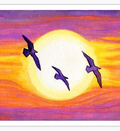 Seagulls Flying Over Flagler Beach Sticker
