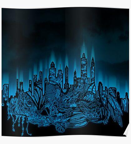 Zen City Glow Black Poster
