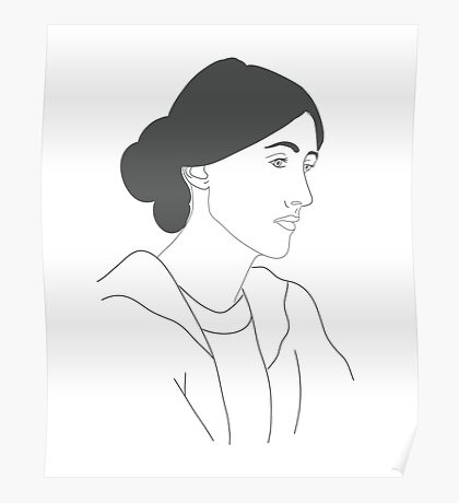 Virginia Woolf in White and Grey Drawing  Poster