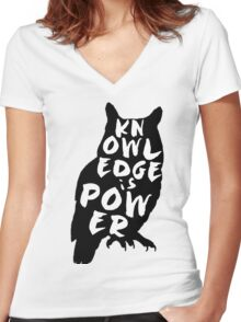 """Knowledge is Power"" Owl Women's Fitted V-Neck T-Shirt"