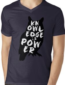 """Knowledge is Power"" Owl Mens V-Neck T-Shirt"