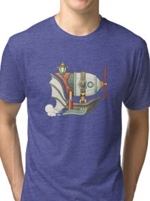 Cartoon steampunk styled flying airship with baloon and propeller Tri-blend T-Shirt