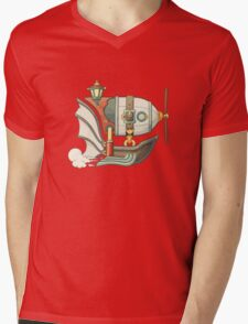 Cartoon steampunk styled flying airship with baloon and propeller Mens V-Neck T-Shirt