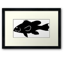 Black Sea Bass Fish Silhouette (Black) Framed Print