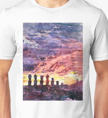 Watercolor batik painting of Easter Island moai statues Unisex T-Shirt