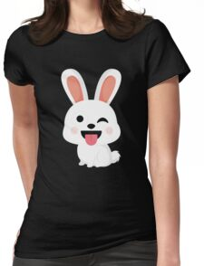 Bunny Rabbit Emoji Wink and Tongue Out Womens Fitted T-Shirt