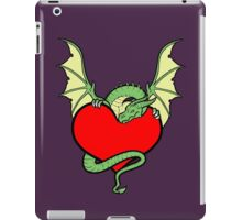Big Heart Dragon Design, Big Hearted Dragon Design On Purple Background iPad Case/Skin