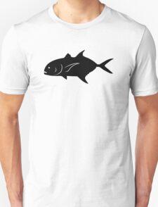 Crevalle Jack Fish Silhouette (Black) Unisex T-Shirt
