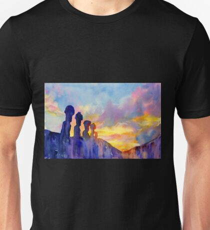 Moai statue on Easter Island- watercolor painting Unisex T-Shirt