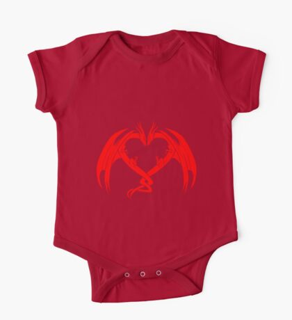 Red Love Dragons On Black Background Design One Piece - Short Sleeve