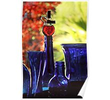 Blue Bottles in Autumn Poster