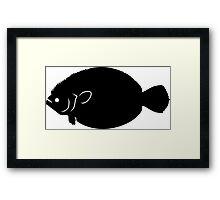 Flounder Fish Silhouette (Black) Framed Print