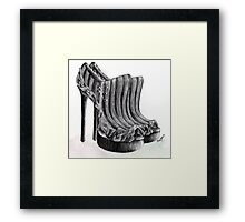Black and White Scratch Shoes Framed Print