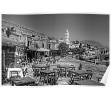 Bell Tower and Tables B&W Poster