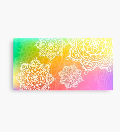 worercolor rainbow mandala Canvas Print