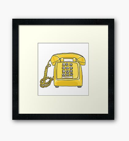 vintage Yellow Telephone hand drawn art painting illustration Framed Print