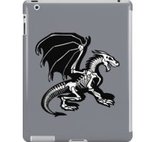 Grey Background Black Skeleton Dragon Design, Bag of Bones Dragon iPad Case/Skin