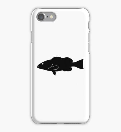 Gag Grouper Fish Silhouette (Black) iPhone Case/Skin