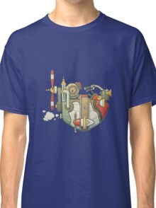 Cartoon steampunk styled flying airship with propeller and wheel Classic T-Shirt