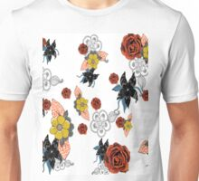 Floral Print with roses and mud cloth flowers Unisex T-Shirt