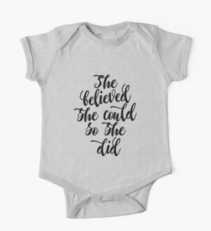 She believed she could so she did Black & white Feminine Women gift One Piece - Short Sleeve