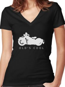 Old's Cool - Vintage Motorcycle Silhouette (White) Women's Fitted V-Neck T-Shirt