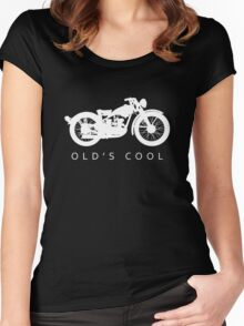 Old's Cool - Vintage Motorcycle Silhouette (White) Women's Fitted Scoop T-Shirt