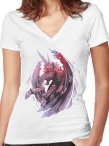 Watercolor crystallizing demonic horse Women's Fitted V-Neck T-Shirt