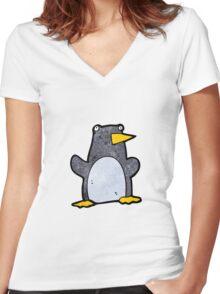 funny cartoon penguin Women's Fitted V-Neck T-Shirt