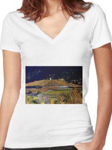 Vineyards Les Crêtes  Women's Fitted V-Neck T-Shirt