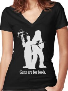 Guns are for fools. Women's Fitted V-Neck T-Shirt