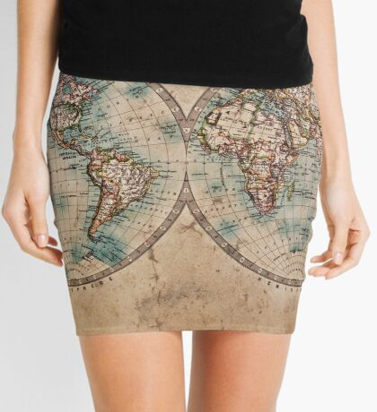 World Map Mid 1800s Mini Skirt
