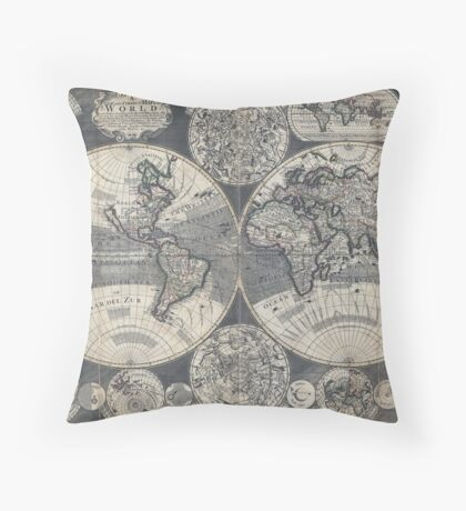 World Map 1702 Throw Pillow