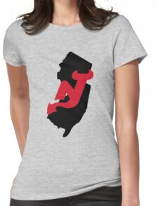 NJ outline with Devils logo Womens Fitted T-Shirt