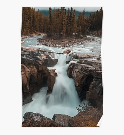 Long Exposure Autumn Waterfall Art Prints and Posters Poster