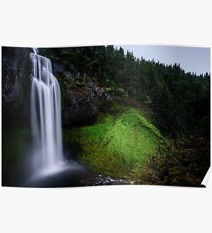 Long Exposure Green Waterfall Art Prints and Posters Poster