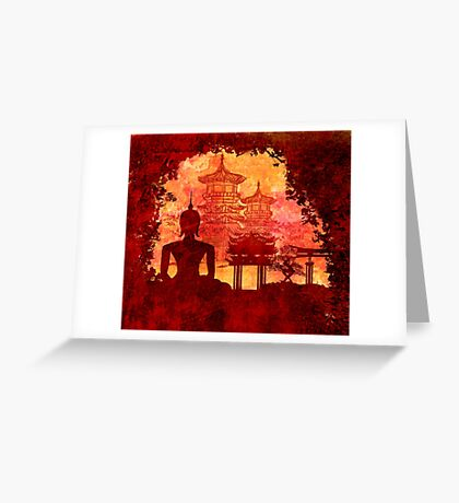 Grunge Buddha and temples Greeting Card