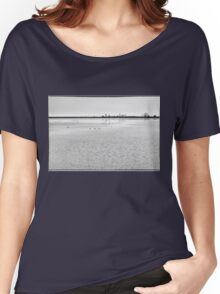 Lake in Winter, black white Women's Relaxed Fit T-Shirt