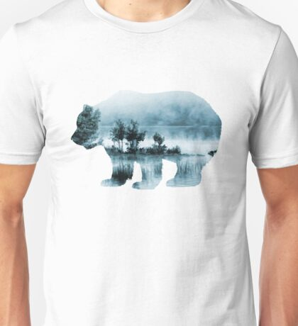 Misty Waterscape Bear - Turquoise Blue Unisex T-Shirt