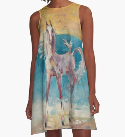 Horse and  seagull on the seaside A-Line Dress