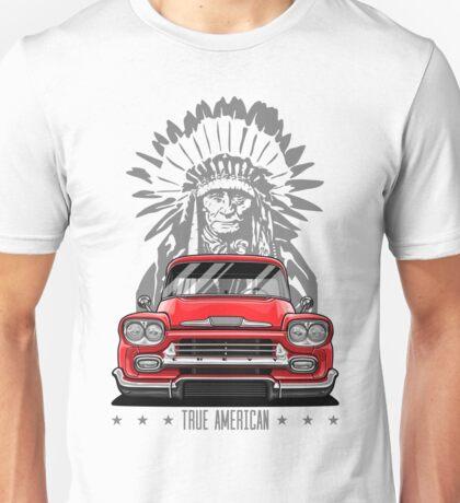 True American. Chevy Apache Pickup Truck (red) Unisex T-Shirt