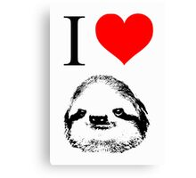 I Love Sloths (Posters, Iphone/ipod/ipad cases, Tshirts, Hoodies, Stickers) Canvas Print