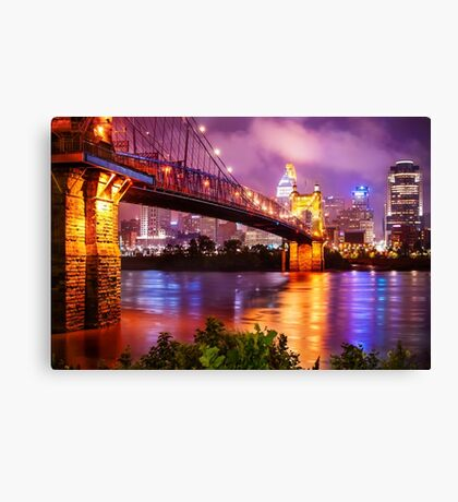 The Vibrant Cincinnati Ohio Skyline and John Roebling Suspension Bridge Canvas Print