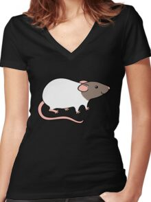 Friendly Hooded Rat - Grey and White Women's Fitted V-Neck T-Shirt