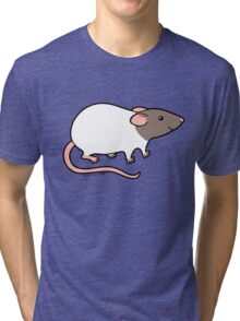 Friendly Hooded Rat - Grey and White Tri-blend T-Shirt