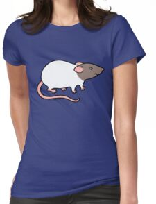 Friendly Hooded Rat - Grey and White Womens Fitted T-Shirt