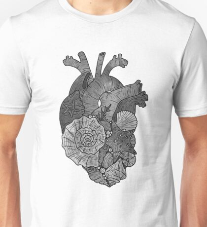 Ocean Heart, Mermaid Illustration  Unisex T-Shirt