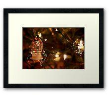 Ice Cube Snowman Ornament on Lit Tree Framed Print