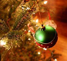 Green Holiday Ornament on Lit  by JupiterHadley